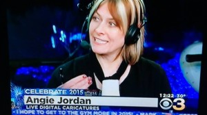 Angie Jordan, CBS 3 Philly news on New Years Eve at Waterfront.
