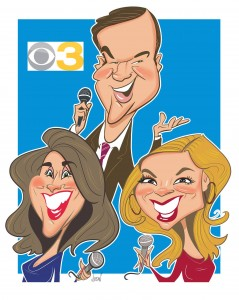 Angie Jordan's Digital Cartoon of the CBS 3 News team